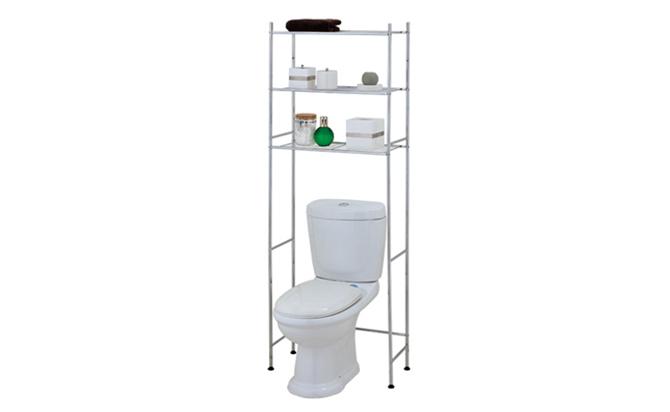 Chrome Toilet Organizer Metal Rail Shelf Over Toilet Stand